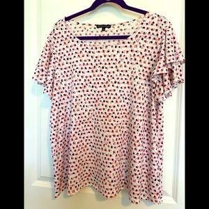 Adrianne Papell flutter sleeve blouse